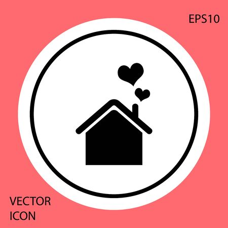 Black House with heart shape icon isolated on red background. Love home symbol. Family, real estate and realty. White circle button. Vector Illustration Ilustração