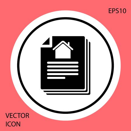 Black House contract icon isolated on red background. Contract creation service, document formation, application form composition. White circle button. Vector Illustration