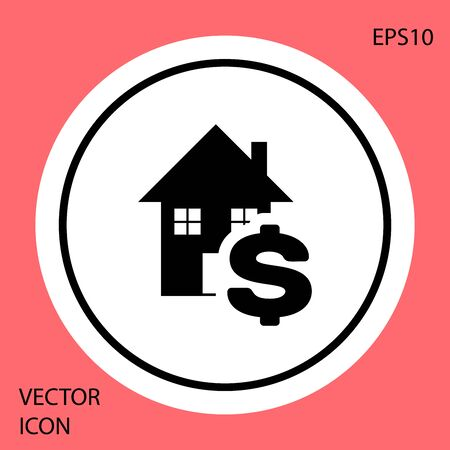 Black House with dollar symbol icon isolated on red background. Home and money. Real estate concept. White circle button. Vector Illustration Иллюстрация