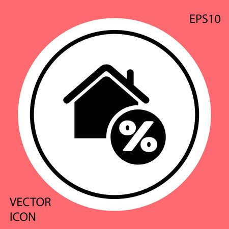 Black House with percent discount tag icon isolated on red background. House percentage sign price. Real estate home. Credit percentage symbol. White circle button. Vector Illustration