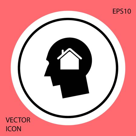 Black Man dreaming about buying a new house icon isolated on red background. White circle button. Vector Illustration Illustration