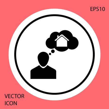 Black Man dreaming about buying a new house icon isolated on red background. White circle button. Vector Illustration Ilustração