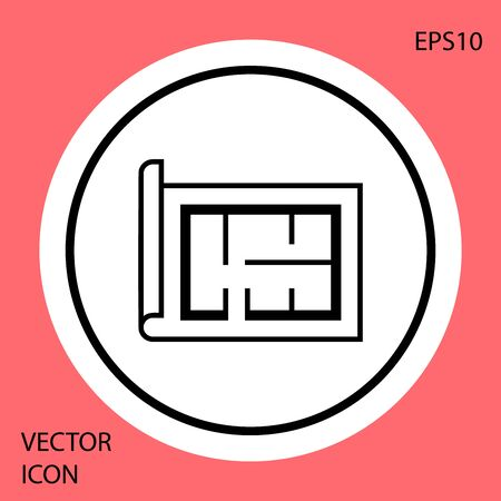 Black House plan icon isolated on red background. White circle button. Vector Illustration Иллюстрация