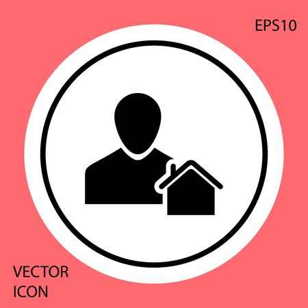 Black Realtor icon isolated on red background. Buying house. White circle button. Vector Illustration