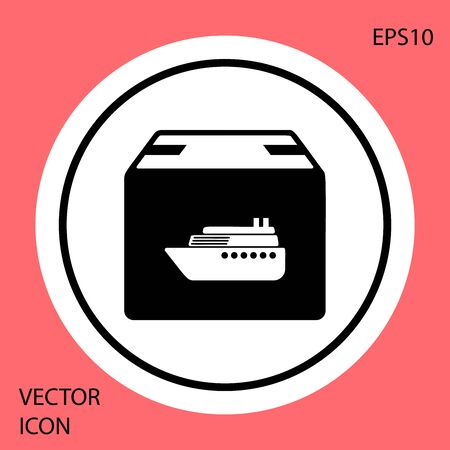 Black Cargo ship with boxes delivery service icon isolated on red background. Delivery, transportation. Freighter with parcels, boxes, goods. White circle button. Vector Illustration Иллюстрация