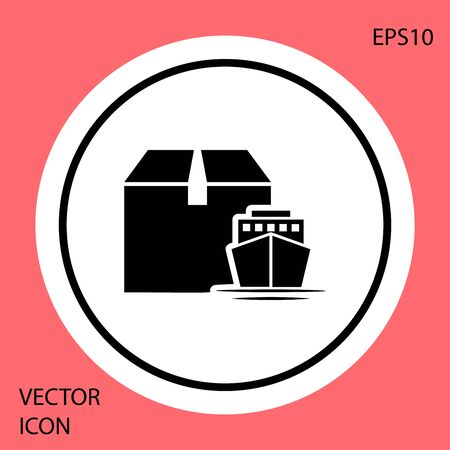 Black Cargo ship with boxes delivery service icon isolated on red background. Delivery, transportation. Freighter with parcels, boxes, goods. White circle button. Vector Illustration  イラスト・ベクター素材