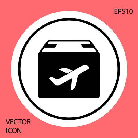 Black Plane and cardboard box icon isolated on red background. Delivery, transportation. Cargo delivery by air. Airplane with parcels, boxes. White circle button. Vector Illustration
