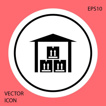 Black Warehouse icon isolated on red background. White circle button. Vector Illustration  イラスト・ベクター素材