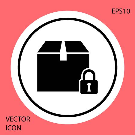 Black Locked package icon isolated on red background. Lock and cardboard box. White circle button. Vector Illustration