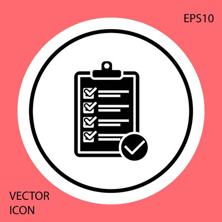 Black Verification of delivery list clipboard and pen icon isolated on red background. White circle button. Vector Illustration