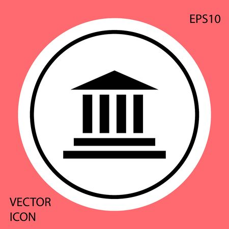 Black Museum building icon isolated on red background. White circle button. Vector Illustration 向量圖像