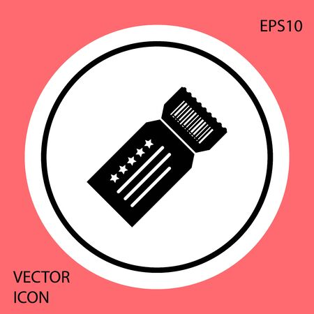 Black Ticket icon isolated on red background. White circle button. Vector Illustration
