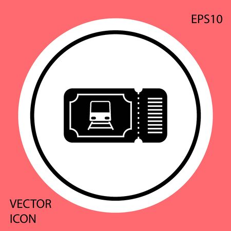 Black Train ticket icon isolated on red background. Travel by railway. White circle button. Vector Illustration