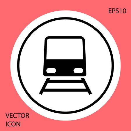 Black Train icon isolated on red background. Public transportation symbol. Subway train transport. Metro underground. White circle button. Vector Illustration Ilustração