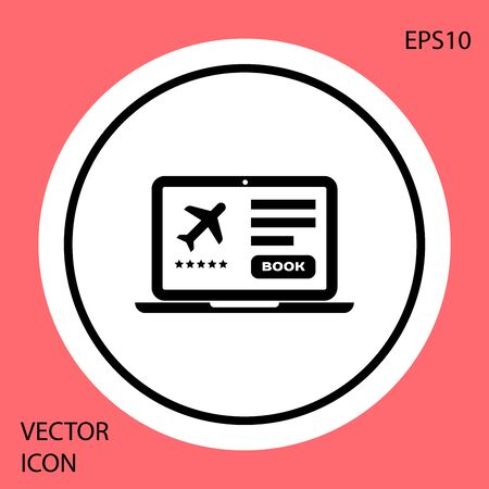 Black Laptop with electronic boarding pass airline ticket icon isolated on red background. Passenger plane mobile ticket for web and app. White circle button. Vector Illustration