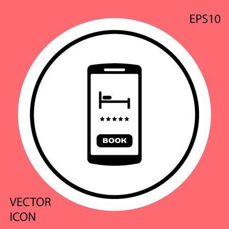 Black Online hotel booking icon isolated on red background. Online booking design concept for mobile phone. White circle button. Vector Illustration Stock Illustratie