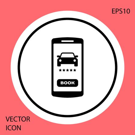 Black Online car sharing icon isolated on red background. Online rental car service. Online booking design concept for mobile phone. White circle button. Vector Illustration