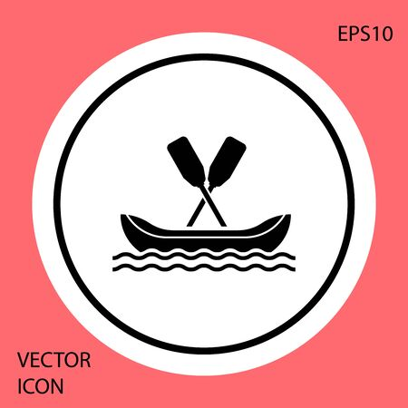 Black Rafting boat icon isolated on red background. Kayak with paddles. Water sports, extreme sports, holiday, vacation, team building. White circle button. Vector Illustration Ilustracja