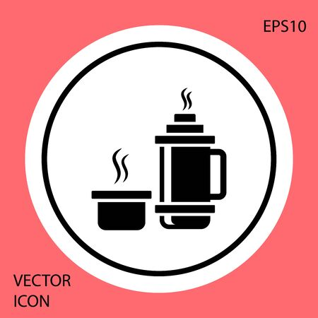 Black Thermo container icon isolated on red background. Thermo flask icon. Camping and hiking equipment. White circle button. Vector Illustration