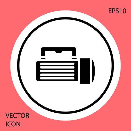 Black Flashlight icon isolated on red background. Tourist flashlight handle. White circle button. Vector Illustration