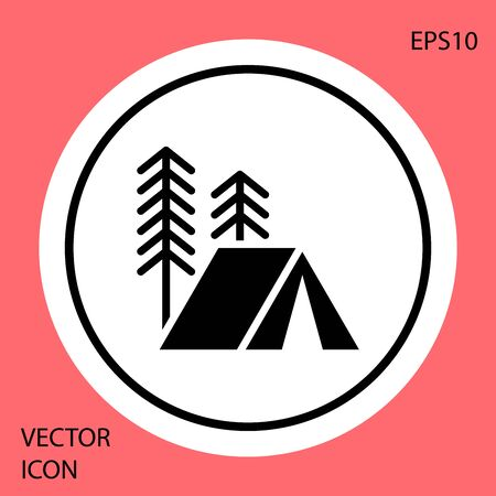 Black Tourist tent icon isolated on red background. Camping symbol. White circle button. Vector Illustration Stock Illustratie