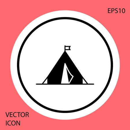 Black Tourist tent with flag icon isolated on red background. Camping symbol. White circle button. Vector Illustration