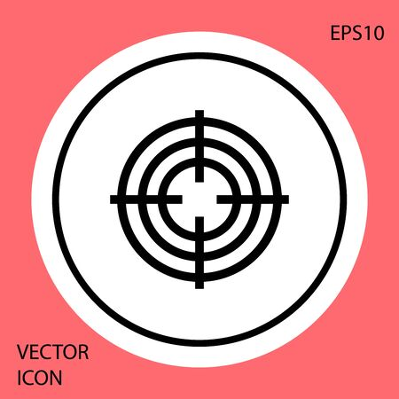 Black Target sport for shooting competition icon isolated on red background. Clean target with numbers for shooting range or shooting. White circle button. Vector Illustration