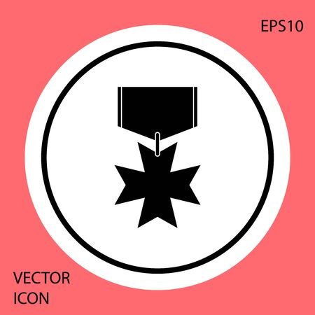 Black Military reward medal icon isolated on red background. Army sign. White circle button. Vector Illustration
