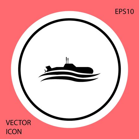 Black Submarine icon isolated on red background. Military ship. White circle button. Vector Illustration Ilustracja