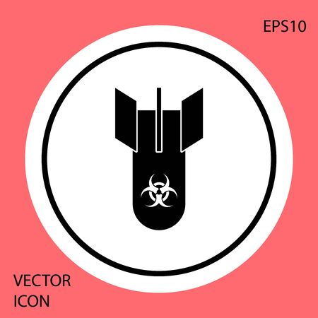 Black Biohazard bomb icon isolated on red background. Rocket bomb flies down. White circle button. Vector Illustration  イラスト・ベクター素材