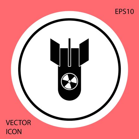 Black Nuclear bomb icon isolated on red background. Rocket bomb flies down. White circle button. Vector Illustration