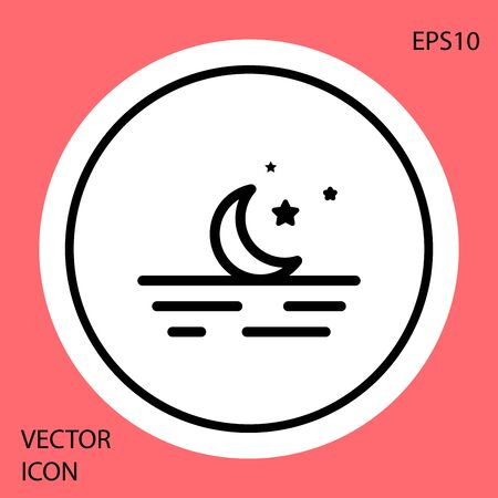 Black Moon and stars icon isolated on red background. White circle button. Vector Illustration