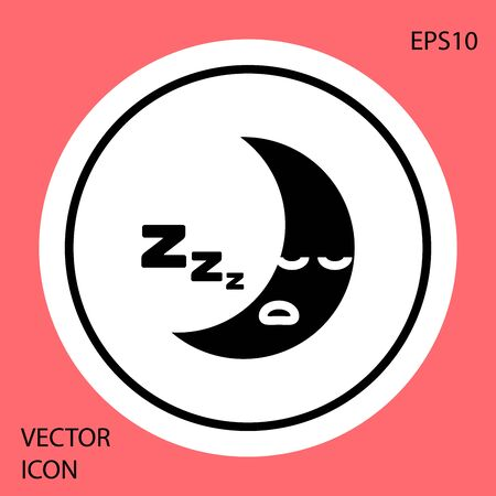 Black Moon icon isolated on red background. Cloudy night sign. Sleep dreams symbol. Night or bed time sign. White circle button. Vector Illustration Stock Illustratie