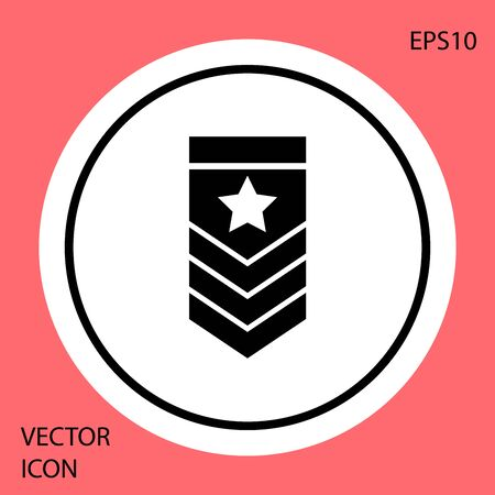 Black Chevron icon isolated on red background. Military badge sign. White circle button. Vector Illustration