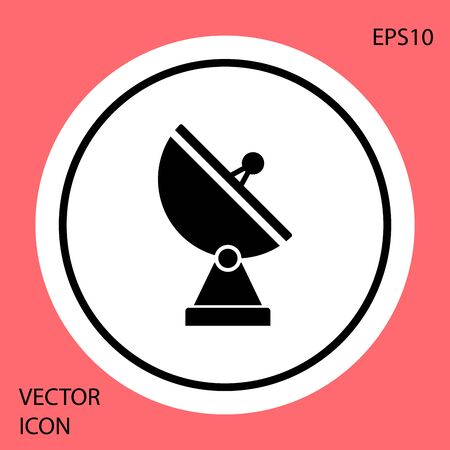 Black Radar icon isolated on red background. Military search system. White circle button. Vector Illustration