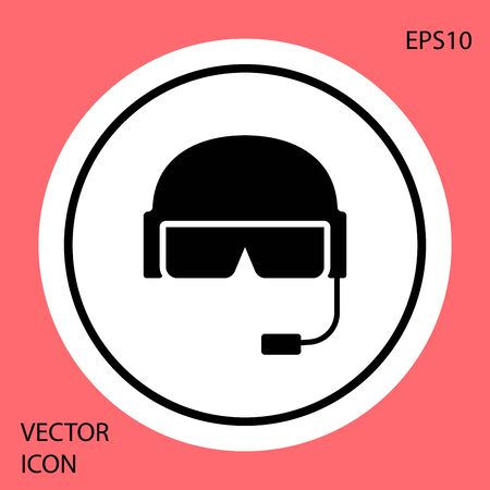 Black Military helmet icon isolated on red background. Army hat symbol of defense and protect. Protective hat. White circle button. Vector Illustration  イラスト・ベクター素材