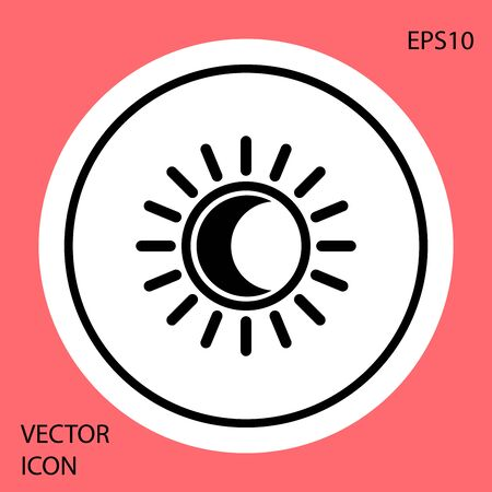 Black Eclipse of the sun icon isolated on red background. Total sonar eclipse. White circle button. Vector Illustration Illustration
