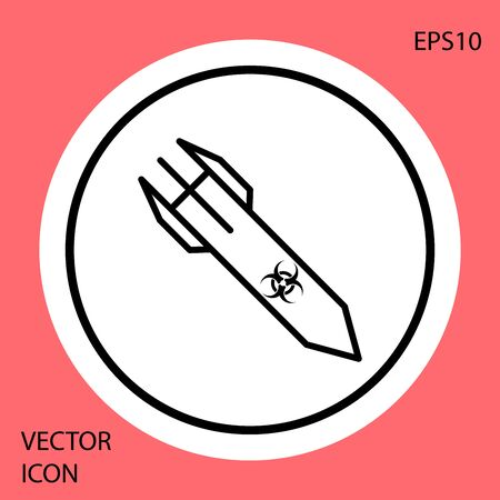 Black Biohazard rocket icon isolated on red background. Rocket bomb flies down. White circle button. Vector Illustration