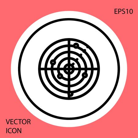 Black Radar with targets on monitor in searching icon isolated on red background. Military search system. Navy sonar. White circle button. Vector Illustration