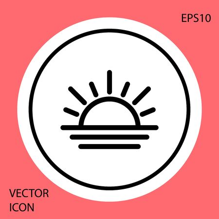 Black Sunset icon isolated on red background. White circle button. Vector Illustration Stock Illustratie