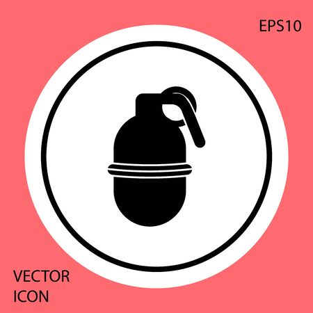 Black Hand grenade icon isolated on red background. Bomb explosion. White circle button. Vector Illustration