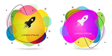 Color Rocket ship with fire icon isolated on white background. Space travel. Abstract banner with liquid shapes. Vector Illustration