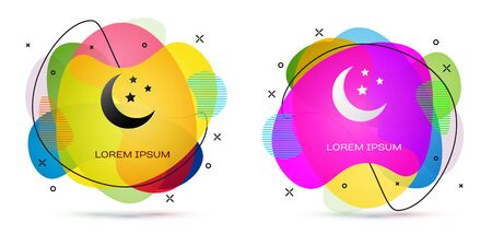 Color Moon and stars icon isolated on white background. Abstract banner with liquid shapes. Vector Illustration