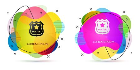 Color Police badge icon isolated on white background. Sheriff badge sign. Abstract banner with liquid shapes. Vector Illustration Stock Illustratie
