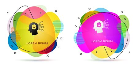 Color Bitcoin think icon on white background. Cryptocurrency head. Blockchain technology, bitcoin, digital money market, cryptocoin wallet. Abstract banner with liquid shapes. Vector Illustration