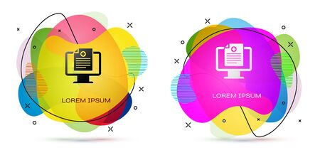Color Medical clinical record on monitor icon isolated on white background. Health insurance form. Prescription, medical check marks report. Abstract banner with liquid shapes. Vector Illustration