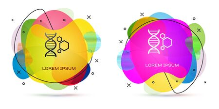 Color Genetic engineering icon isolated on white background. DNA analysis, genetics testing, cloning, paternity testing. Abstract banner with liquid shapes. Vector Illustration