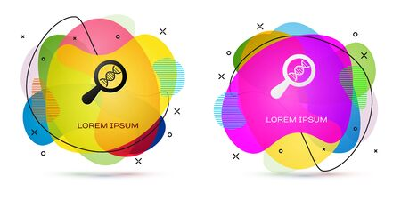 Color DNA research, search icon isolated on white background. Magnifying glass and dna chain. Genetic engineering, cloning, paternity testing. Abstract banner with liquid shapes. Vector Illustration