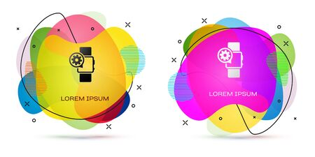 Color Smartwatch and gear icon isolated on white background. Adjusting app, service concept, setting options, maintenance, repair, fixing. Abstract banner with liquid shapes. Vector Illustration Banque d'images - 129392376