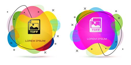 Color TIFF file document. Download tiff button icon isolated on white background. TIFF file symbol. Abstract banner with liquid shapes. Vector Illustration Illustration
